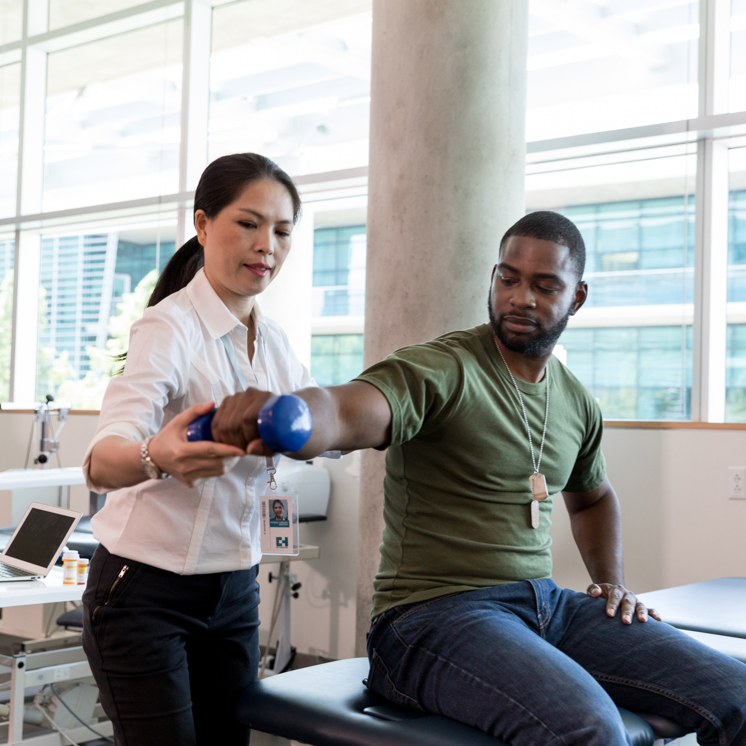 PBM Foundation - Injured soldier in physical therapy